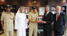 From left to right Brigadier Anas Al Matrooshi, Buti Saeed Al Ghandi, Major General Khamis Mattar Al Mazeina, John Stadwick, Graham Turner