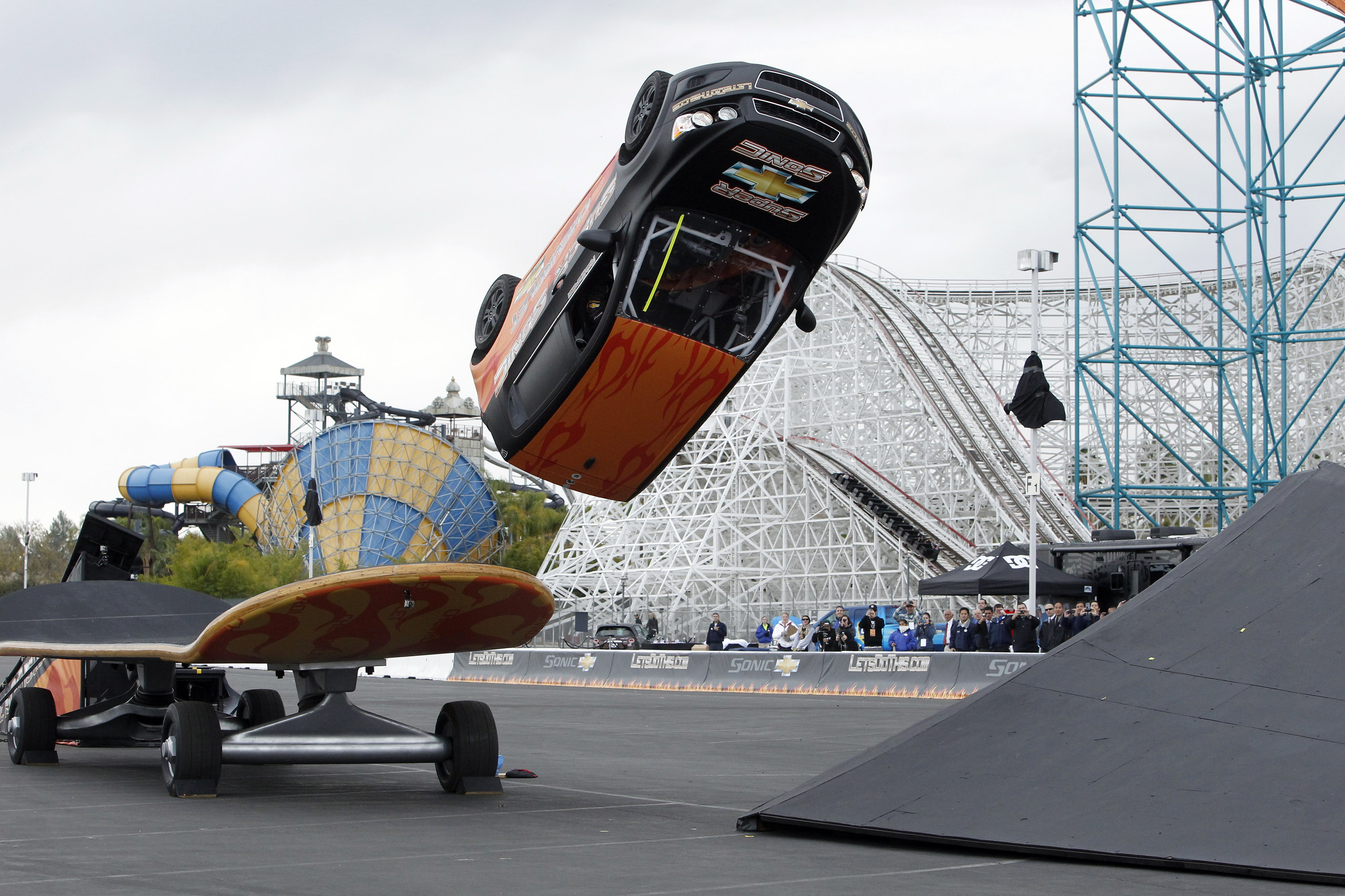Mtv Reality And Action Sports Star Rob Dyrdek Prepares His 2017 Chevy Sonic For A Kick Flip 360 Degree Rotation In Mid Air That Is More Commonly