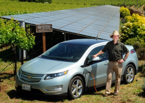 Zd Wines Winemaster And Ceo Robert Deleuze With His Chevrolet Volt A Solar Panel Array In The Vineyard Of Napa California Based Winery Thursday