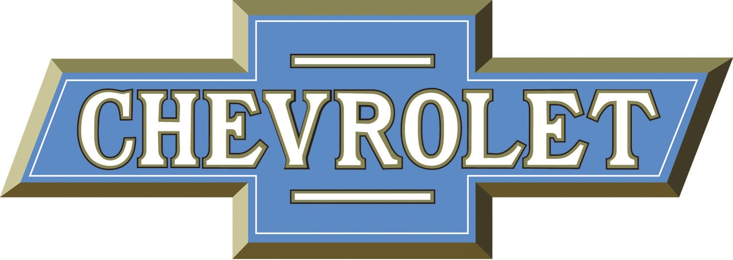 chevrolet logo. a 1916 rendition of the original chevrolet bowtie badge which was introduced in late 1913 by william c durant on trio newfor1914 models logo