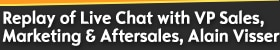 Live Chat (English) with VP Sales, Marketing & Aftersales, Alain Visser