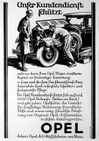 Advertisement for Opel customer service, 1929.