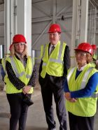 Shawna Girgis, Bedford Mayor, Representative Eric Koch, Indiana House of Representatives, and Linda Williamson, Acting Director Lawrence County Economic Growth Council, tour the construction site at Bedford Casting Operations following GM's planned $127.4 million investment, creating about 127 jobs in the future.