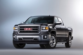 2015 GMC Sierra SLT Crew Cab Front Three Quarter in Iridium Metallic - Studio