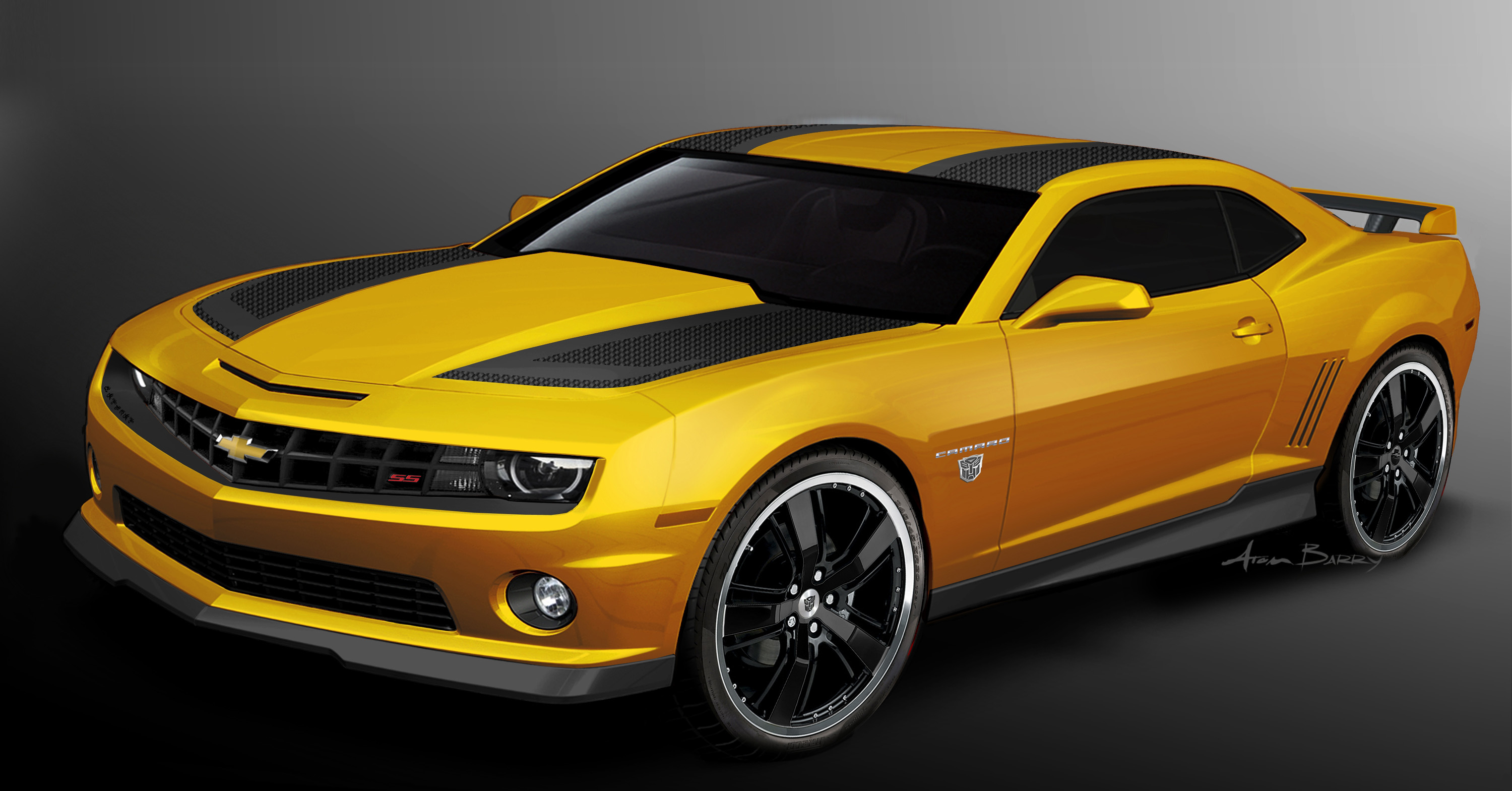 The Interior Of 2017 Transformers Special Edition Camaro Features Black Leather Seating And Yellow Accent Sching On Instrument Panel