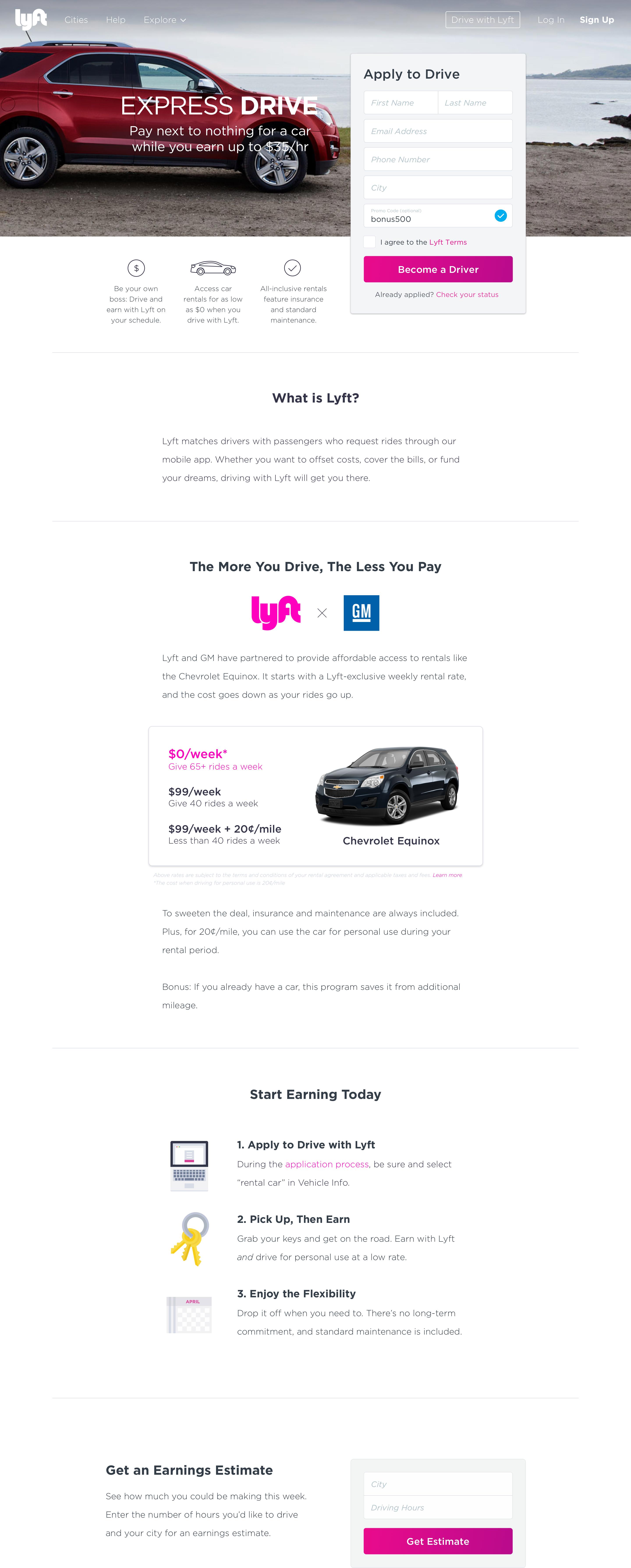 Lyft Car Rental >> Lyft And Gm Launch Express Drive Program